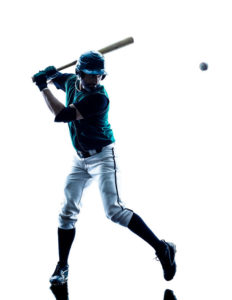39789126 - one caucasian man baseball player playing in studio silhouette isolated on white background